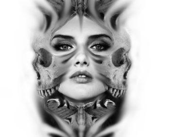 projekt twarz z czaszka